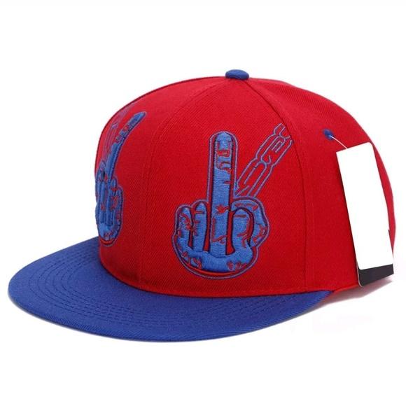 ecb38581206 Middle Finger Snapback Blue Red Baseball Cap hat
